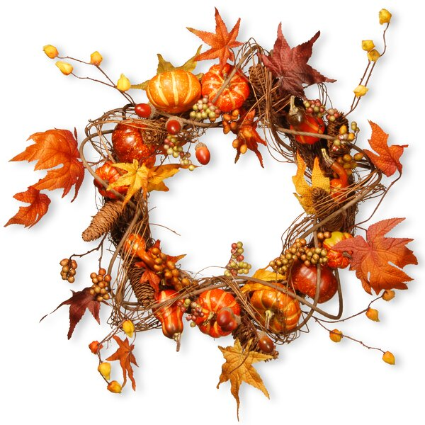 20 Maple and Pumpkin Wreath by National Tree Co.