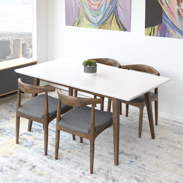 Ernest Kadira Mid-century 5 Piece Solid Wood Dining Set by Union Rustic Union Rustic