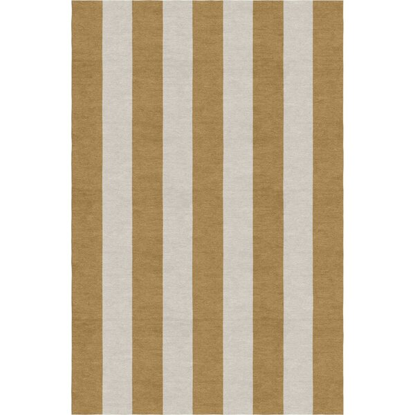 Burnell Hand-Woven Wool Camel/Silver Area Rug by Longshore Tides