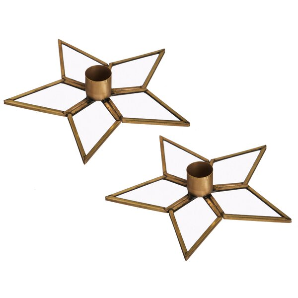 Star Metal Candle Holder (Set of 2) by Gracie Oaks