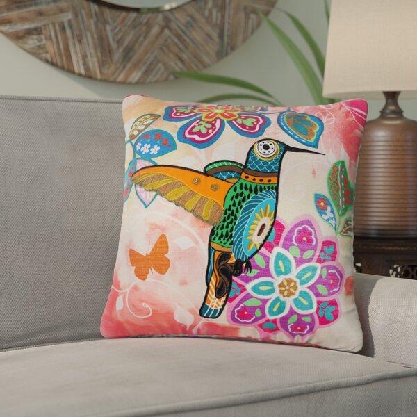 Slater Bright Botanical Hummingbird Indoor/Outdoor Throw Pillow by Bloomsbury Market