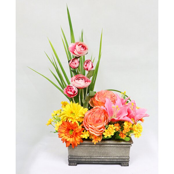 Artificial Mixed Flower Floral Arrangement in Planter by August Grove
