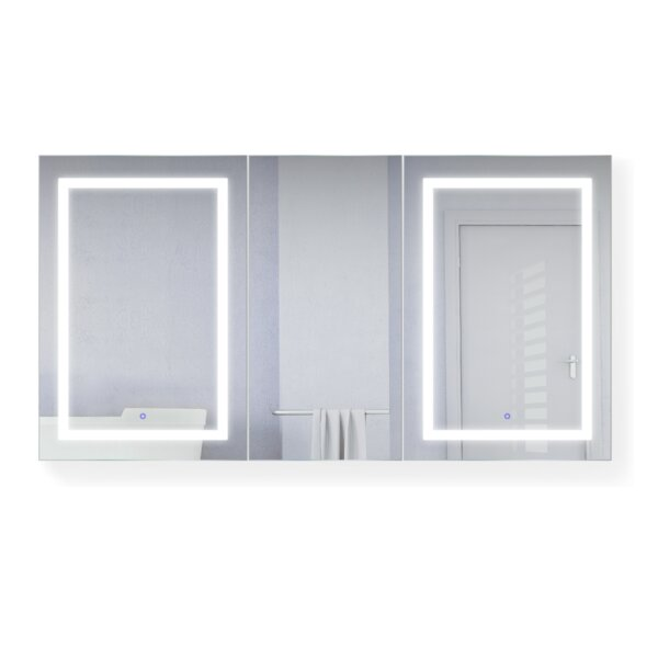 Vannote 66 x 36 Recessed or Surface Mount Medicine Cabinet with 9 Adjustable Shelves and LED Lighting