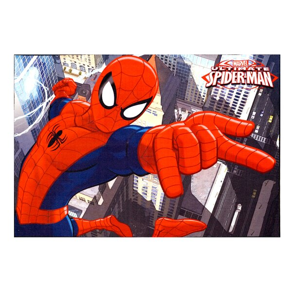 Marvel Spiderman Polyester Red/Blue Kids Rug by G.A. Gertmenian & Sons