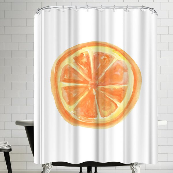 Jetty Printables Watercolor Orange Slice Shower Curtain by East Urban Home
