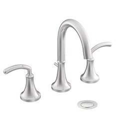 Icon Widespread High Arc Bathroom Faucet with Optional Pop-Up Drain by Moen