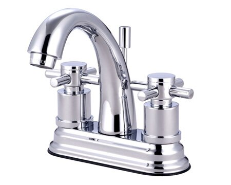 South Beach Double Cross Handle Centerset Bathroom Faucet with Brass Pop-Up by Elements of Design