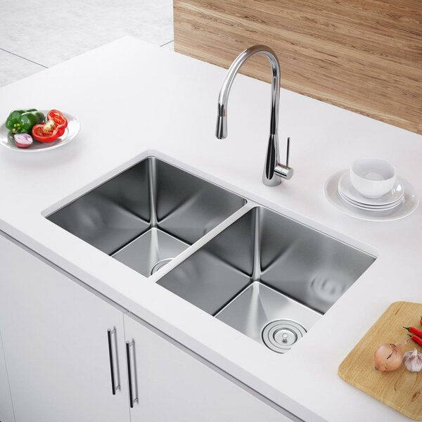 31 L x 18 W Double Bowl Undermount Kitchen Sink with Strainer by Exclusive Heritage