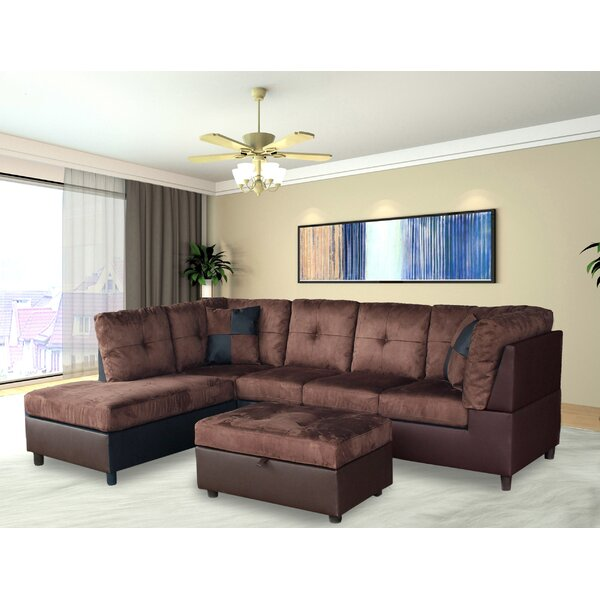 New Design Eliseo Sectional with Ottoman by Ebern Designs by Ebern Designs
