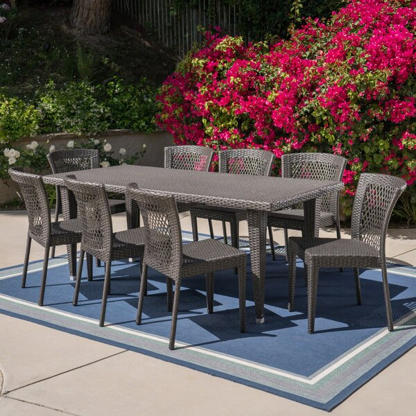 Harjo Outdoor 9 Piece Dining Set by Bungalow Rose