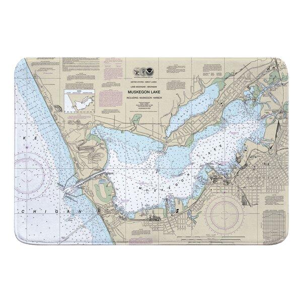 Nautical Chart Muskegon MI Rectangle Memory Foam Non-Slip Bath Rug