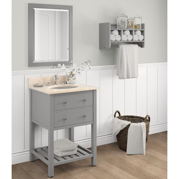 Harrison 25 Single Bathroom Vanity with Mirror and Shelf by Alaterre