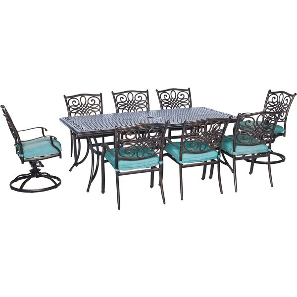 Lauritsen 9 Piece Oil Rubbed Bronze Dining Set by Three Posts
