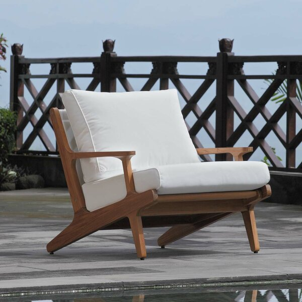 Berube Teak Patio Chair with Cushions by George Oliver