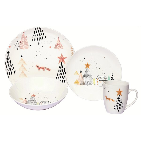 Warkentin Winter Fox Porcelain Coupe 16 Piece Dinnerware Set, Service for 4 by Latitude Run