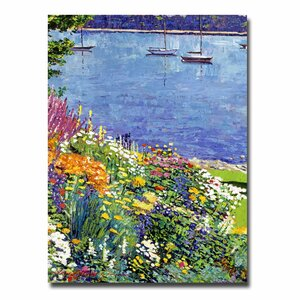 Sailboat Bay Garden by David Lloyd Glover Painting Print on Canvas by Trademark Fine Art