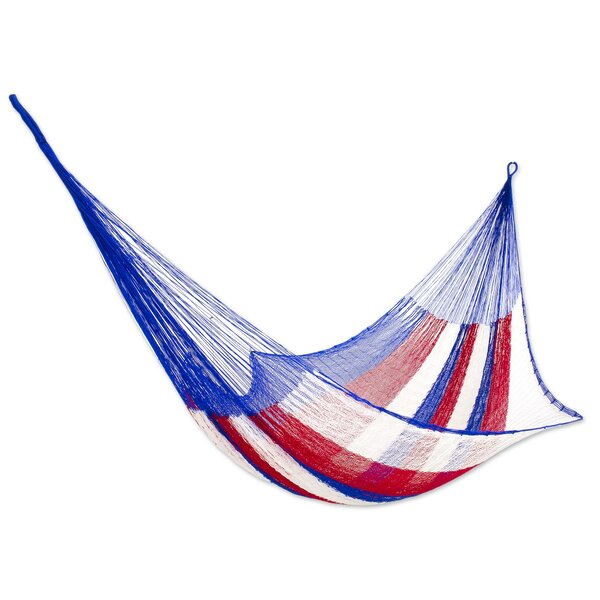 Patriotic Rope Single Nylon Tree Hammock by Novica