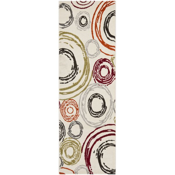 Charis Geometric Ivory Area Rug by Ebern Designs