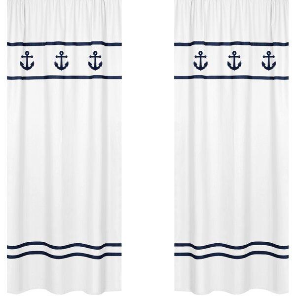 Anchors Away Nautical Semi-Sheer Rod pocket Curtain Panels (Set of 2) by Sweet Jojo Designs