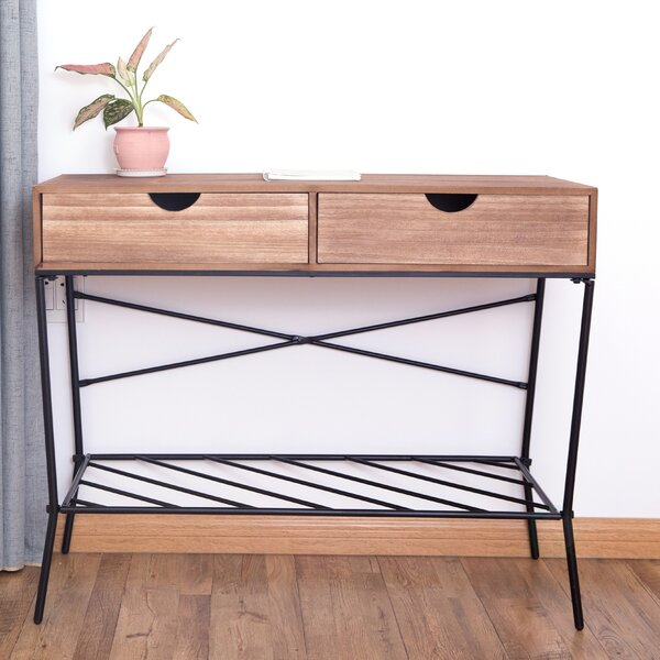 Higgenbotham 2 Drawers and Storage Shelf Console Table by Williston Forge