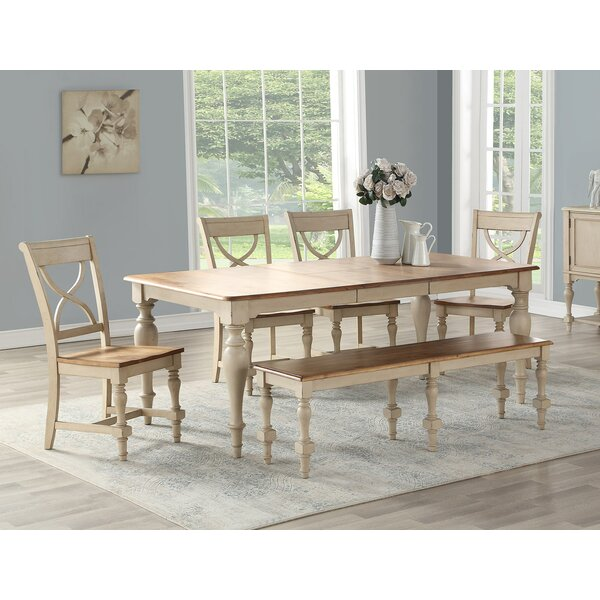 6 Piece Extendable Solid Wood Dining Set by August Grove