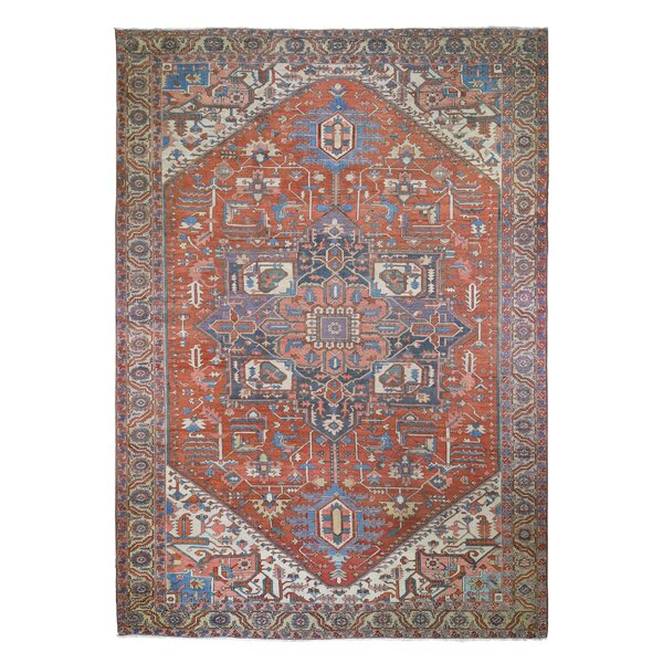 One-of-a-Kind Ankaj Hand-Knotted 1900s Red/Brown/Beige 11'1 x 15'9 Area Rug