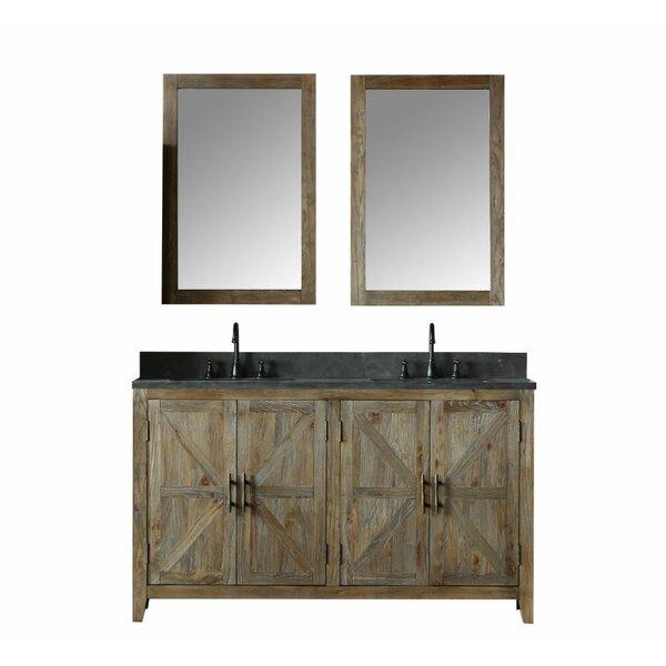 Alamo 60 Double Bathroom Vanity Set with Mirror by Laurel Foundry Modern Farmhouse