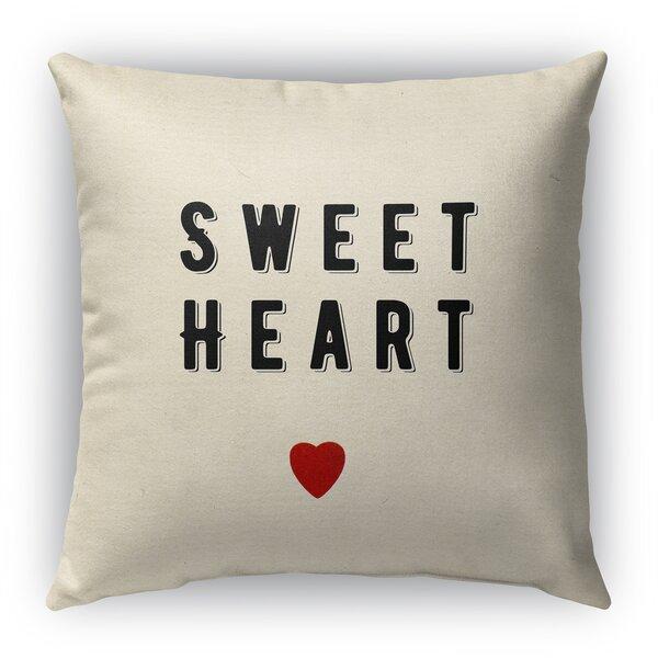 Sweet Heart Burlap Indoor/Outdoor Throw Pillow by KAVKA DESIGNS