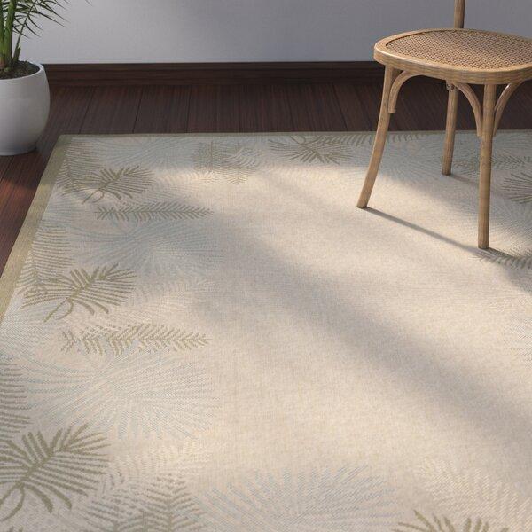 Amaryllis Cream/Green Indoor/Outdoor Rug by Bay Isle Home