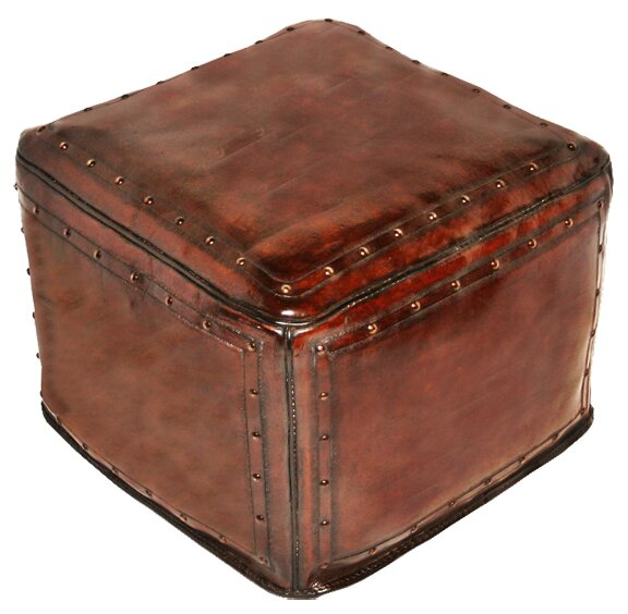 Leather Pouf Ottoman by New World Trading