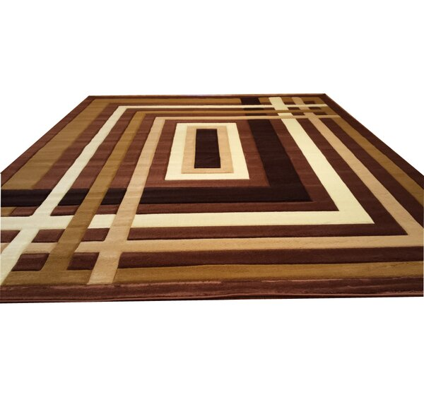 Hand-Carved Brown Area Rug by Rug Tycoon