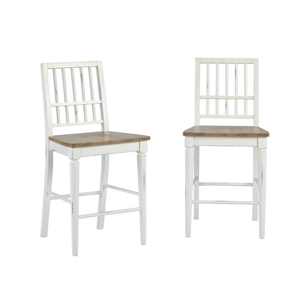 Galliano Counter Height Solid Wood Dining Chair (Set of 2) by Rosecliff Heights
