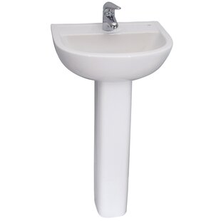 Bargain Vitreous China Circular Pedestal Bathroom Sink with Overflow By Barclay
