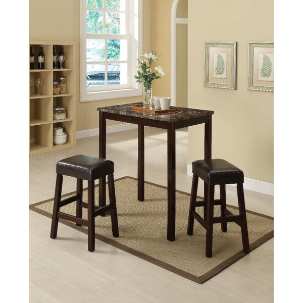 Port Augusta 3 Piece Counter Height Solid Wood Dining Set by Winston Porter