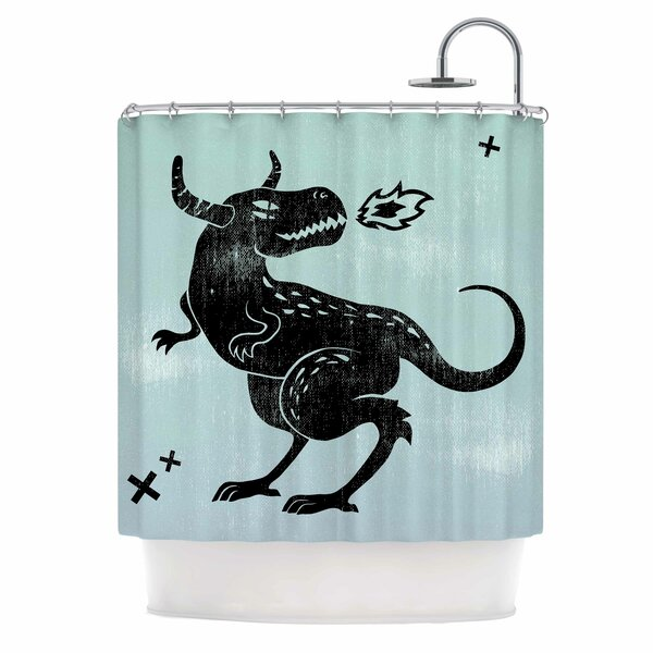 Anya Volk Fire Monster Illustration Shower Curtain by East Urban Home