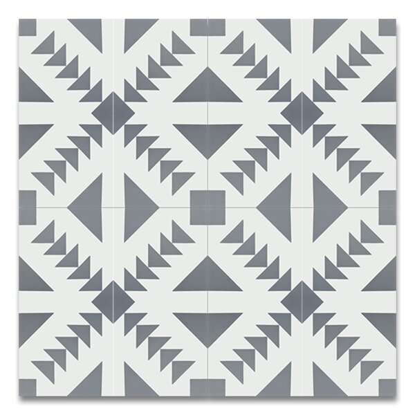 Tadla 8 X 8 Cement Patterned Tile in Gray/White by Moroccan Mosaic