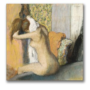 After the Bath, Woman Drying Neck by Edgar Degas Painting Print on Canvas by Trademark Fine Art