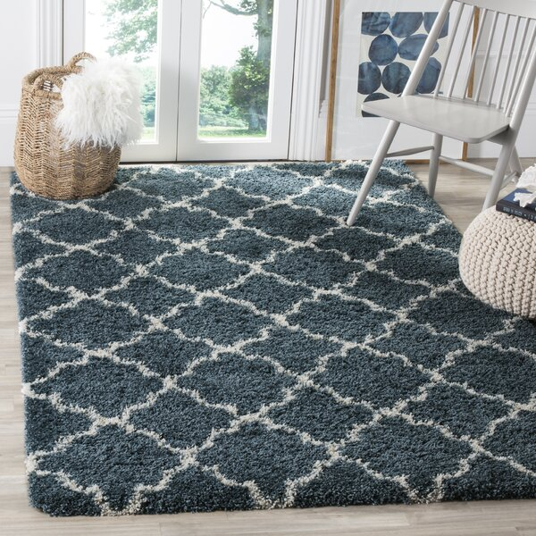 Melvin Modern Shag Blue/Beige Area Rug by Charlton Home