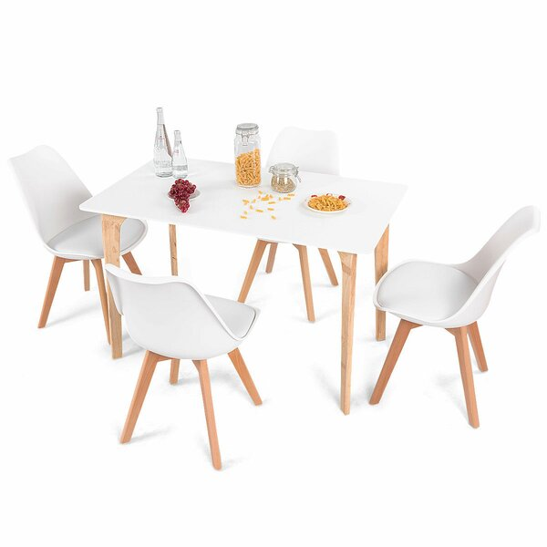 Elyssa Rectangular 5 Piece Solid Wood Dining Set by Ebern Designs Ebern Designs