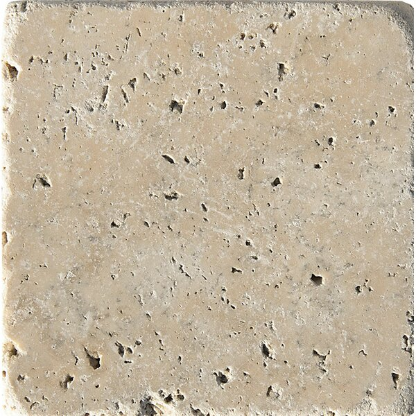 Philadelphia Tumbled 4 x 4 Travertine Field Tile in Beige by Parvatile