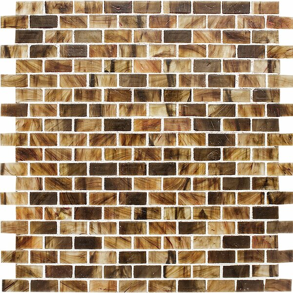 Riverside Brick 0.625 x 1.25 Glass Mosaic Tile in Matte by Parvatile