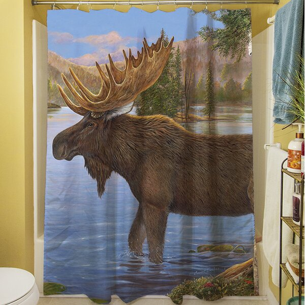Majestic Moose Shower Curtain by Manual Woodworkers & Weavers