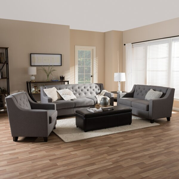 Baxton 3 Piece Living Room Set by Wholesale Interiors