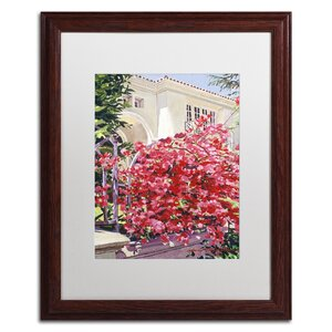 Pink Bougainvillea Mansion by David Lloyd Glover Matted Framed Painting Print by Trademark Fine Art