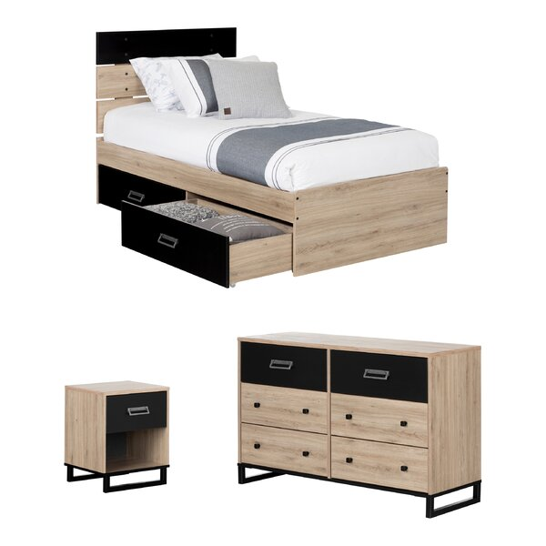 Induzy Industrial Twin Platfrom Configurable Bedroom Set by South Shore