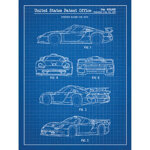 Automobiles Et Al 'Porsche Racing Car Body 1997' Silk Screen Print Graphic Art in Blue Grid/White Ink by Inked and Screened