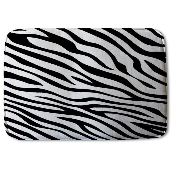Blockton Zebra Print Designer Rectangle Non-Slip Animal Print Bath Rug