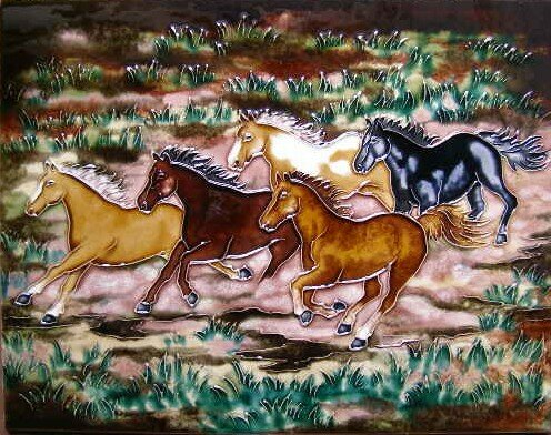 Five Horses Running Tile Wall Decor by Continental Art Center