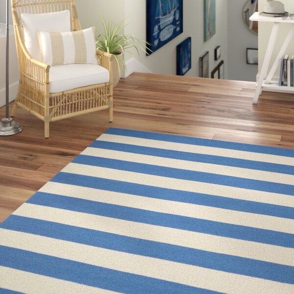 Brookvale Hand-Woven Cotton Blue/Ivory Area Rug by Beachcrest Home