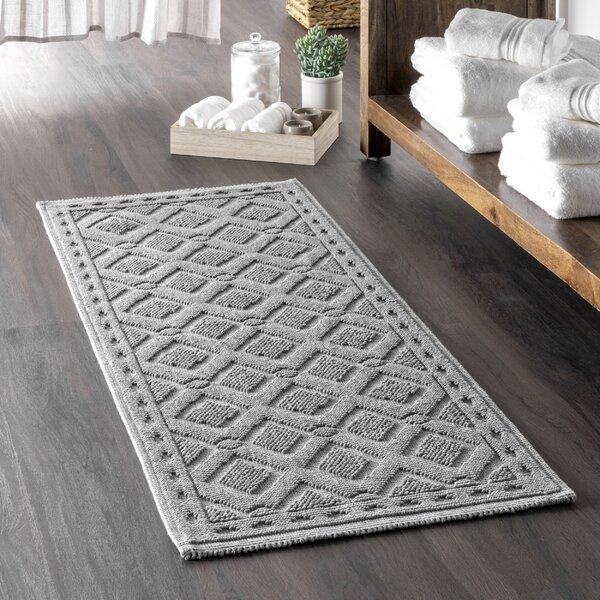 Lesley Rectangle 100% Cotton Geometric Bath Rug